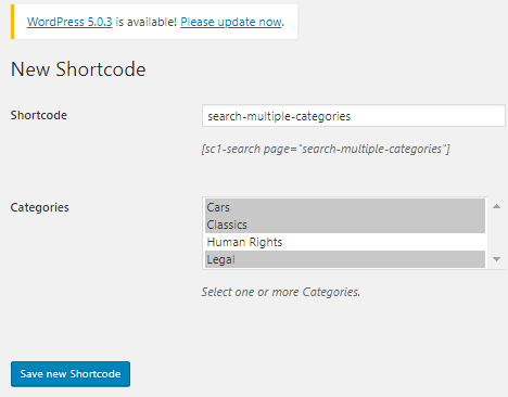 Create New Shortcode